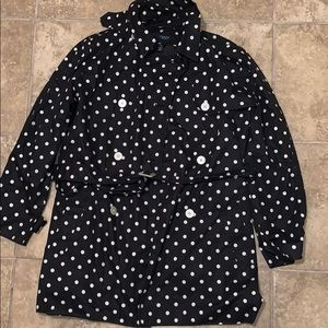 Chaps Women's Black & Polka Dot Dress Coat Size L